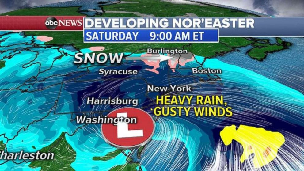 PHOTO: As the storm moves into the Northeast, 1 to 3 inches of rain is possible for major cities.