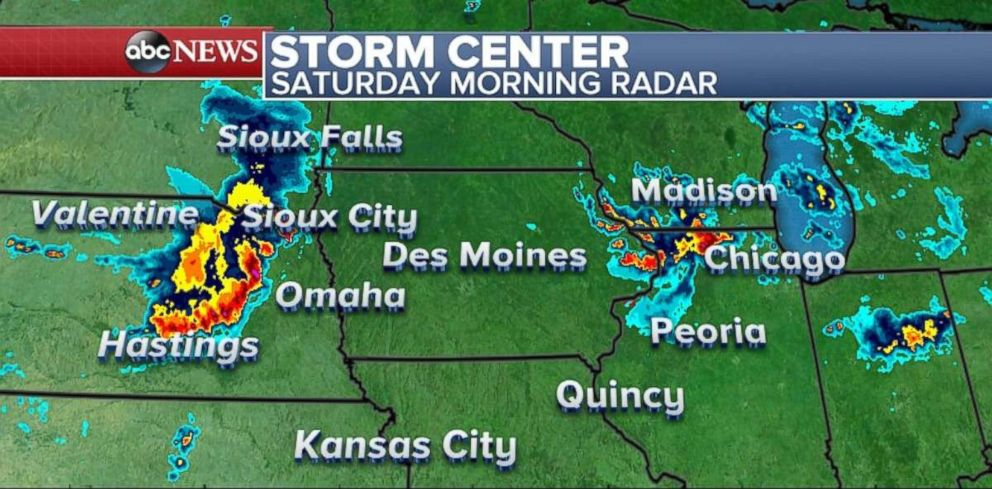 Storms are moving through Nebraska and northern Illinois on Saturday morning.