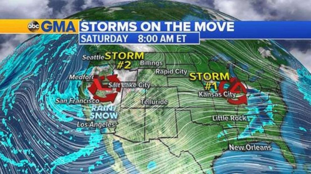 Two storms are moving across the U.S. on Saturday morning.