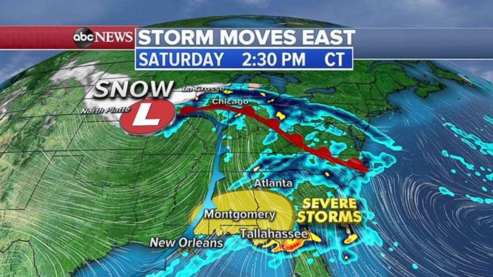 PHOTO: The threat for severe storms moves into the Southeast on Saturday.