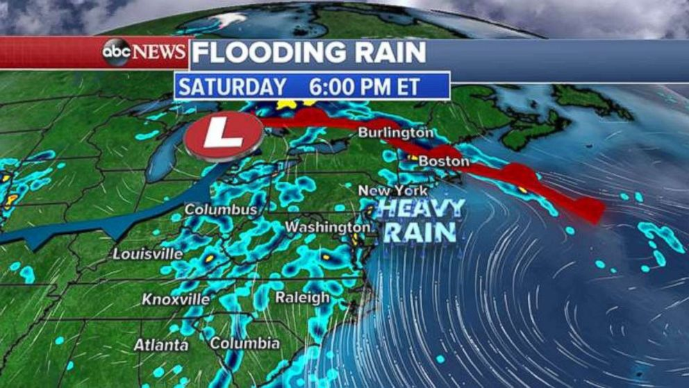 Rain will move north Saturday evening, bringing soaking showers to the Northeast and New England.