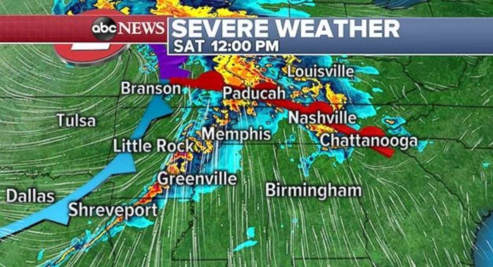 Severe storms are possible in the South on Saturday afternoon.