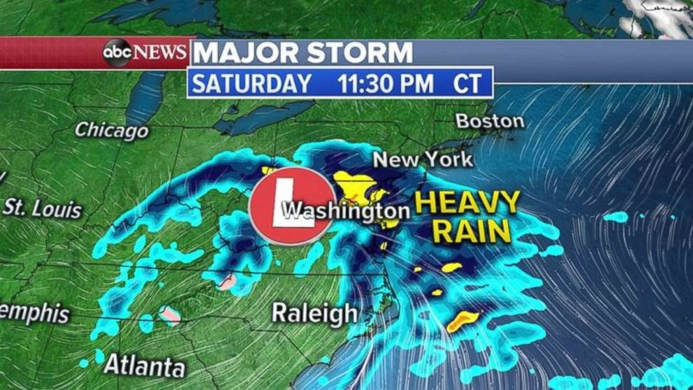PHOTO: Heavy rain will reach the Northeast on Saturday.