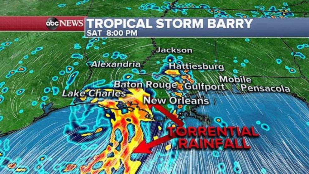 PHOTO: Torrential rainfall is expected along the central Louisiana coast.