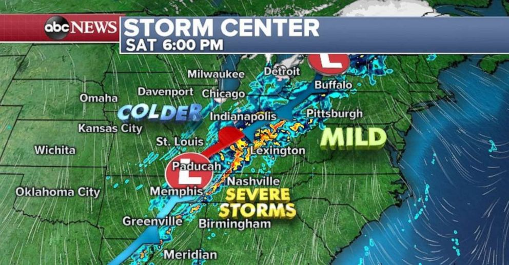 A strong front is set to move through the Ohio and Tennessee River valleys on Saturday.