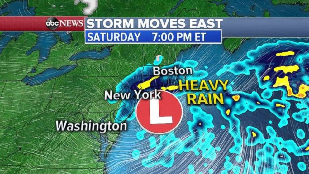 PHOTO: The rain will last all day Saturday in New York and southern New England.