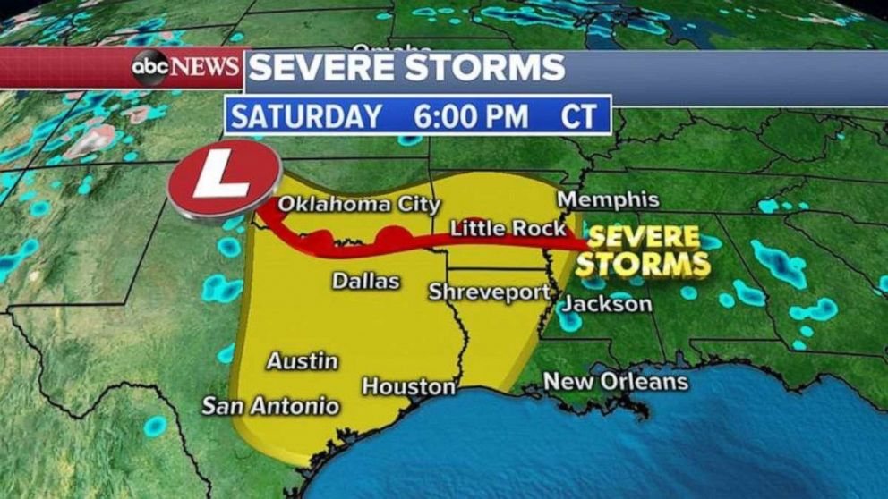 The severe weather threat expands to eastern Texas, southern Oklahoma, and parts of Arkansas and Louisiana on Saturday.