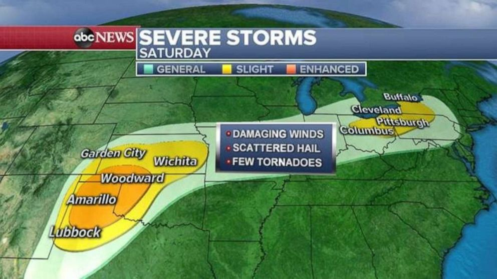 PHOTO: Severe storms are possible Saturday in the Southern Plains and the Great Lakes.