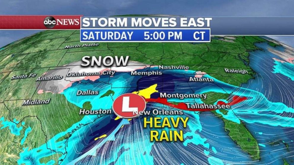 PHOTO: The heavy rain will move into Louisiana, Mississippi and Alabama on Saturday, with snow falling in Oklahoma.