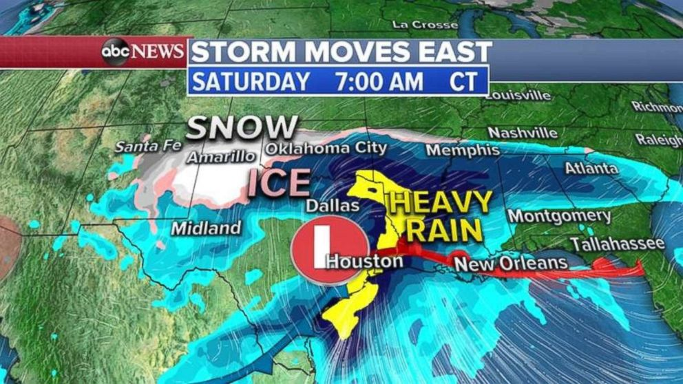 PHOTO: The heavy rain, snow and ice will move into parts of Texas, Oklahoma and the Deep South on Saturday morning.