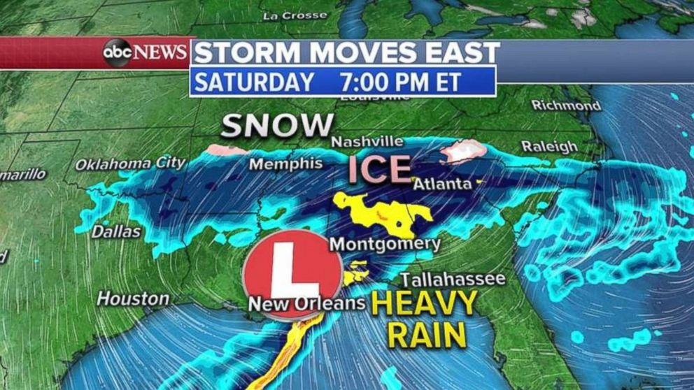 The storm will move in the South on Saturday, bringing mostly rain.