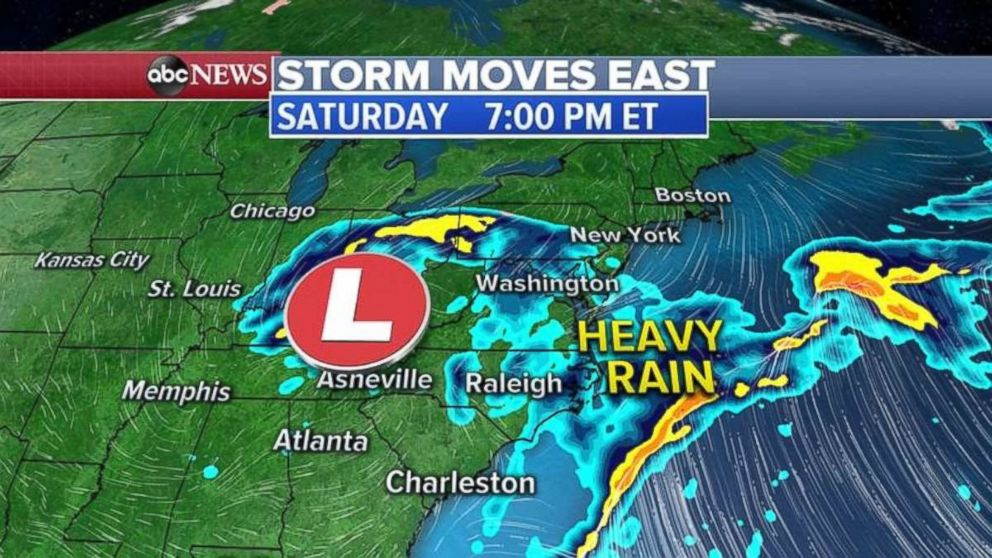 PHOTO: The storm will move up the East Coast through the day on Saturday.