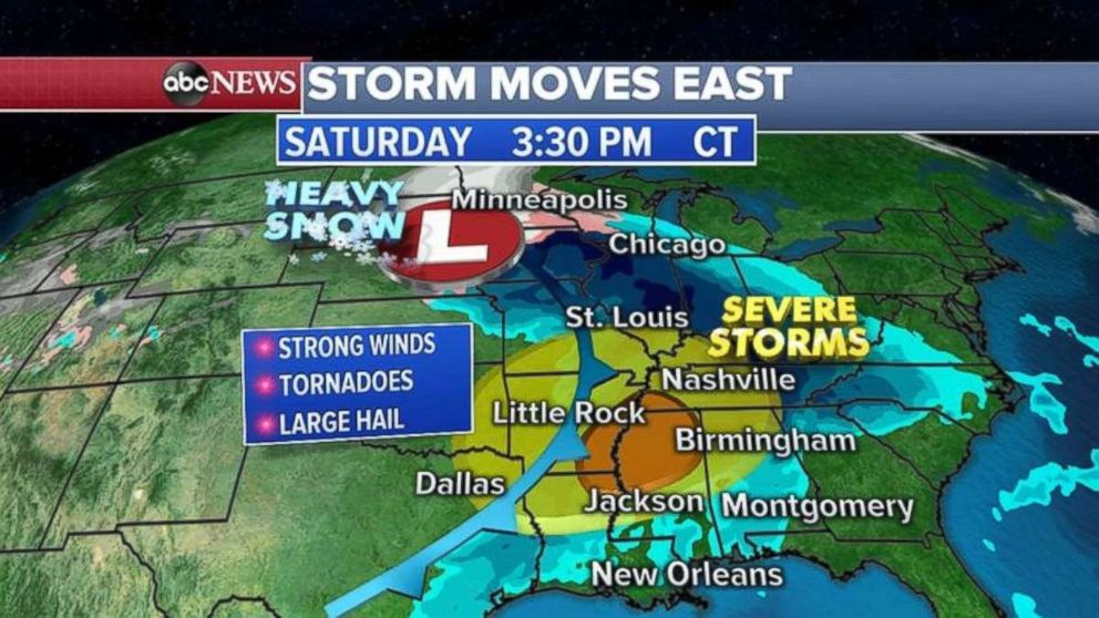 PHOTO: Severe weather, including tornadoes and hail, are possible Saturday afternoon in the Deep South.