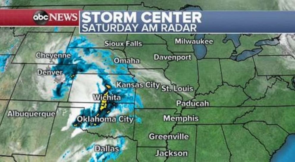 PHOTO: Storms are moving through Oklahoma and Kansas on Saturday morning.