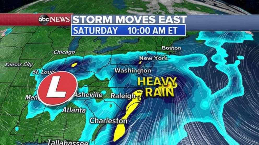The heavy rain will move up the East Coast on Saturday morning and into the Northeast by afternoon.