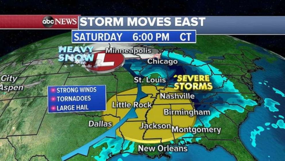 PHOTO: Severe storms are possible in the South one week after tornadoes killed almost two dozen people in one Alabama town.
