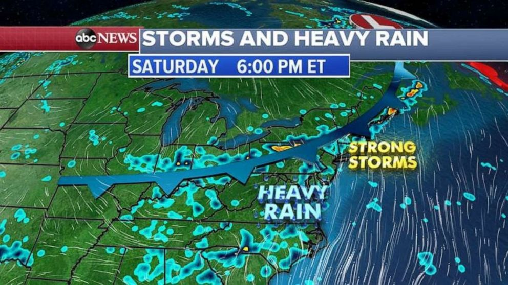 PHOTO: The threat for strong storms moves into the Northeast on Saturday.