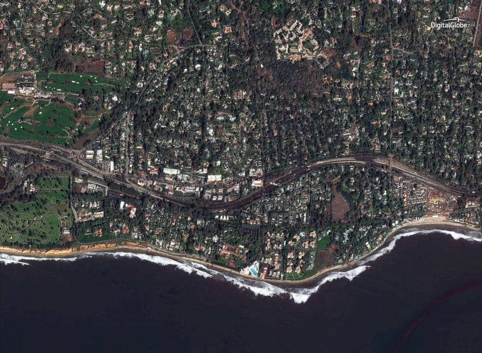 PHOTO: A satellite image made on Jan. 10, 2018, shows a southern portion of Montecito, Calif., and Highway 101 after the mudslides.