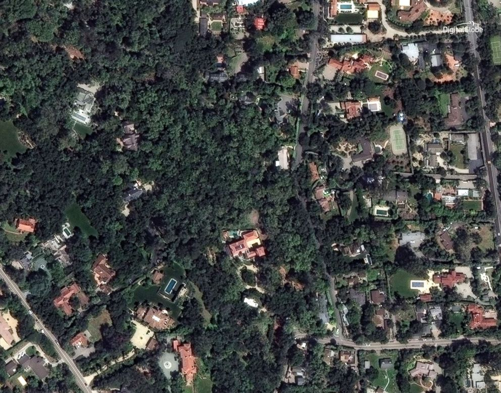 PHOTO: Homes in a northern section of Montecito, Calif., near Para Grande Lane and East Valley Road are pictured in a satellite image taken on April 8, 2017.