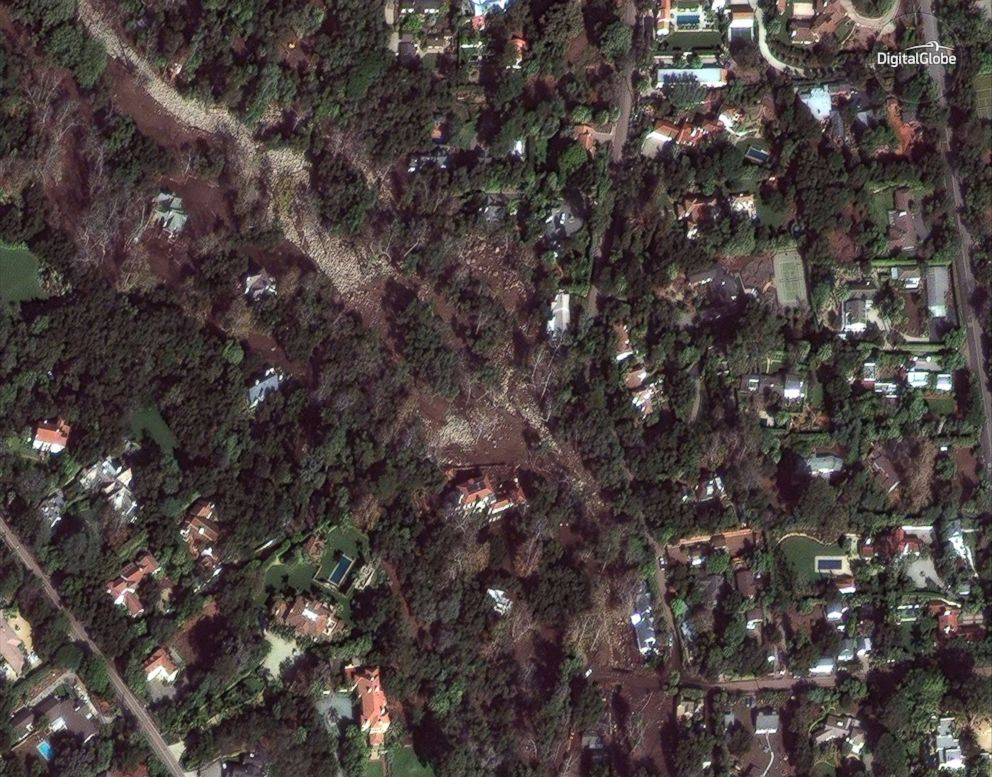 PHOTO: Mud and damaged homes are seen in Montecito, Calif., near Para Grande Lane and East Valley Road in a satellite image made on Jan. 11, 2018.