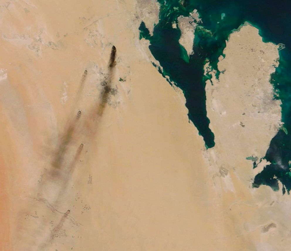 PHOTO: This Sept. 14, 2019, satellite image provided by NASA Worldview shows fires following Yemens Houthi rebels claiming a drone attack on two major oil installations in eastern Saudi Arabia.