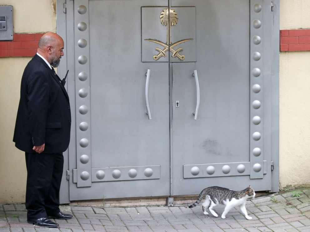 PHOTO: A security guard stands outside Saudi Arabias Consulate in Istanbul, Oct. 15, 2018.