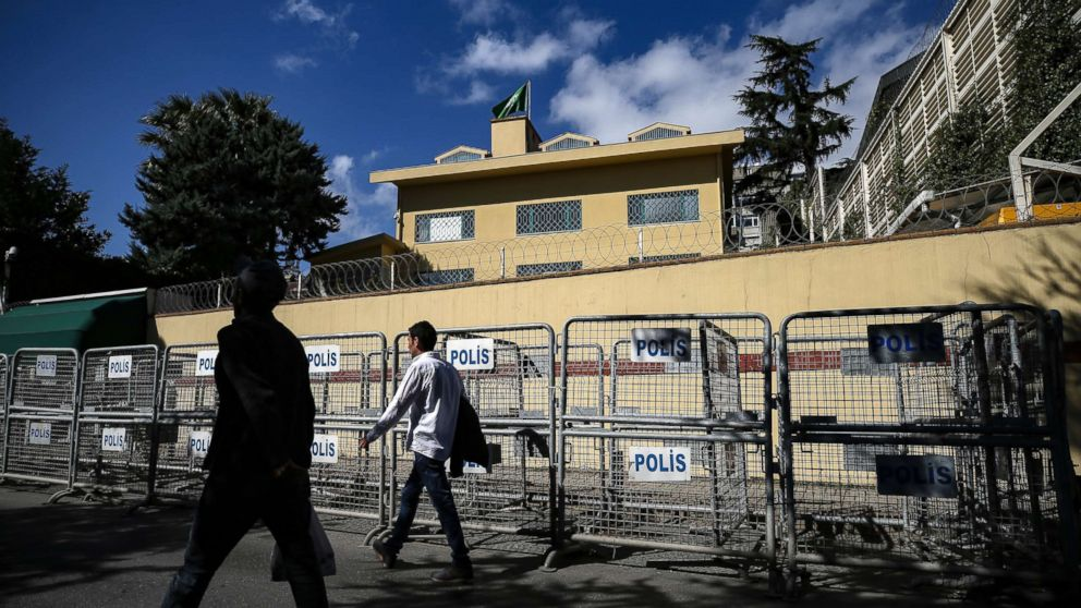 People walk past the Saudi consulate in Istanbul, Oct. 7, 2018. The Washington Post is reporting that two officials have told it that Turkey believes a prominent Saudi Arabian journalist who contributes to the Post was killed at the Saudi Consulate in Istanbul. Saudi officials have had no immediate comment. The Post says that the anonymous officials with knowledge of the Turkish investigation gave it the information about missing columnist Jamal Khashoggi.