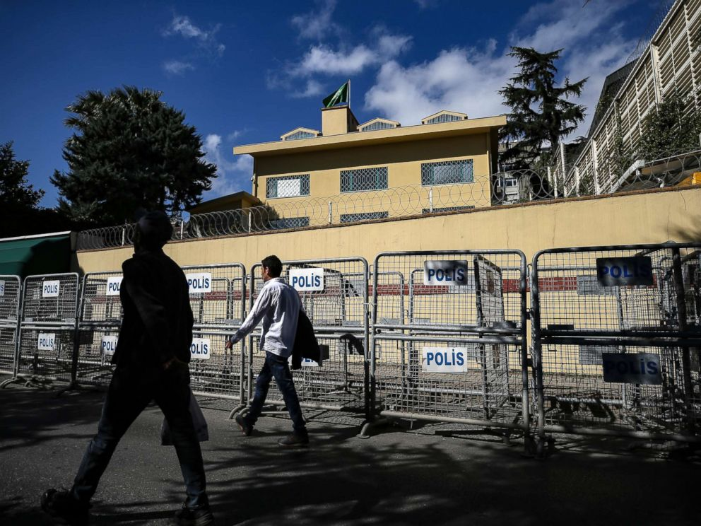 PHOTO: People walk past the Saudi consulate in Istanbul, Oct. 7, 2018.