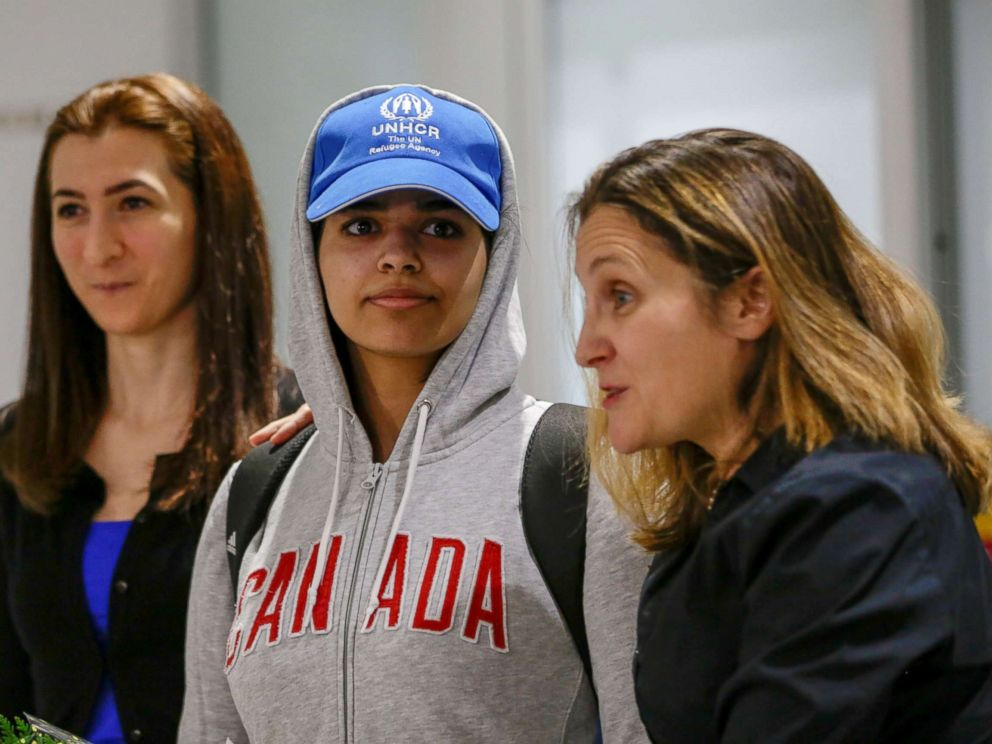 PHOTO: Rahaf Mohammed al-Qunun arrives at Toronto Pearson International Airport in Toronto, Ontario, Canada. Jan. 12, 2019.