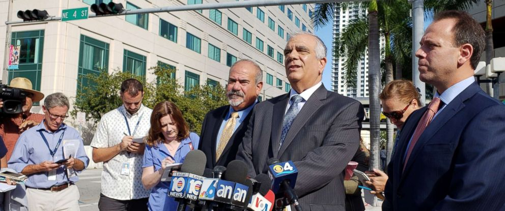 PHOTO: Attorneys Jamie Benjamin, left, Daniel Aaronson and Peter Patanzo, right, representing accused mail bomber Cesar Sayoc, speak to reporters after a second court appearance in Miami, Nov. 2, 2018.