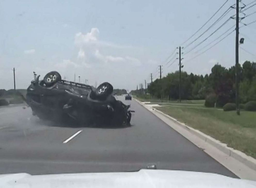 Brittany Jeffords car flips over while fleeing police in Florence, S.C., on Friday, July 12, 2018.