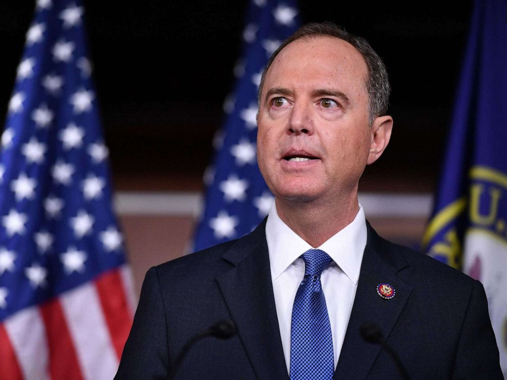 PHOTO: House Intelligence Committee Chair Adam Schiff, speak during a press conference with House Speaker Nancy Pelosi at the US Capitol in Washington, DC on October 2, 2019.