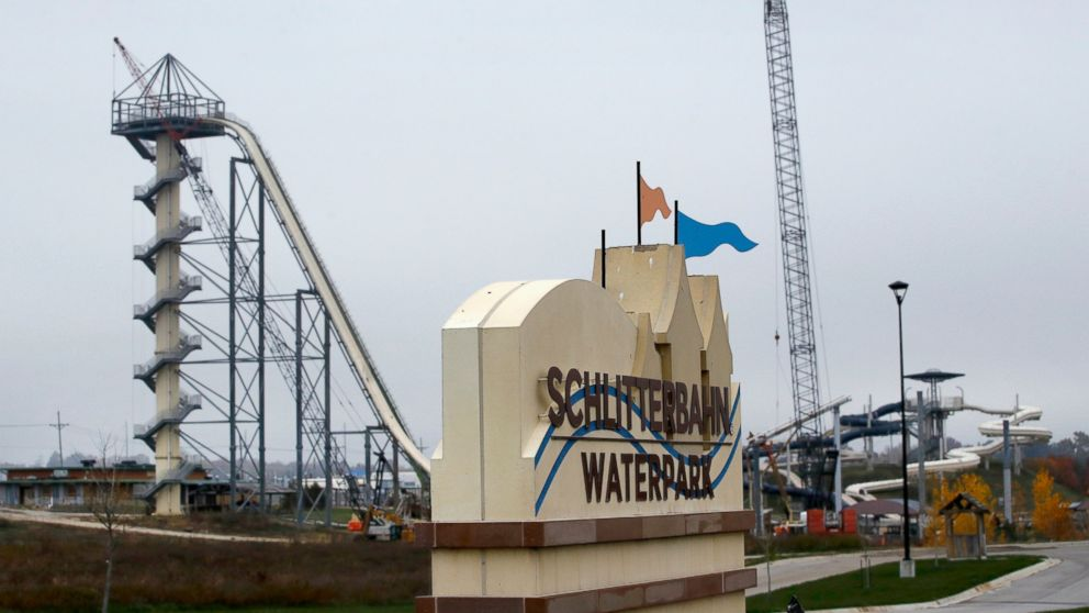 In this Oct. 30, 2018, file photo, crews dismantle the Verruckt waterslide at the Schlitterbahn water park in Kansas City, Kan.