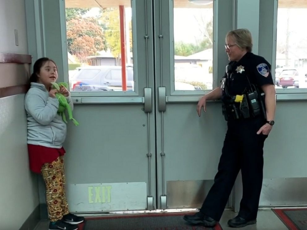 PHOTO: A teacher captured the heartwarming moment a school resource officer soothed a young student with a song at Herbert Slater Middle School in Santa Rosa, Calif.