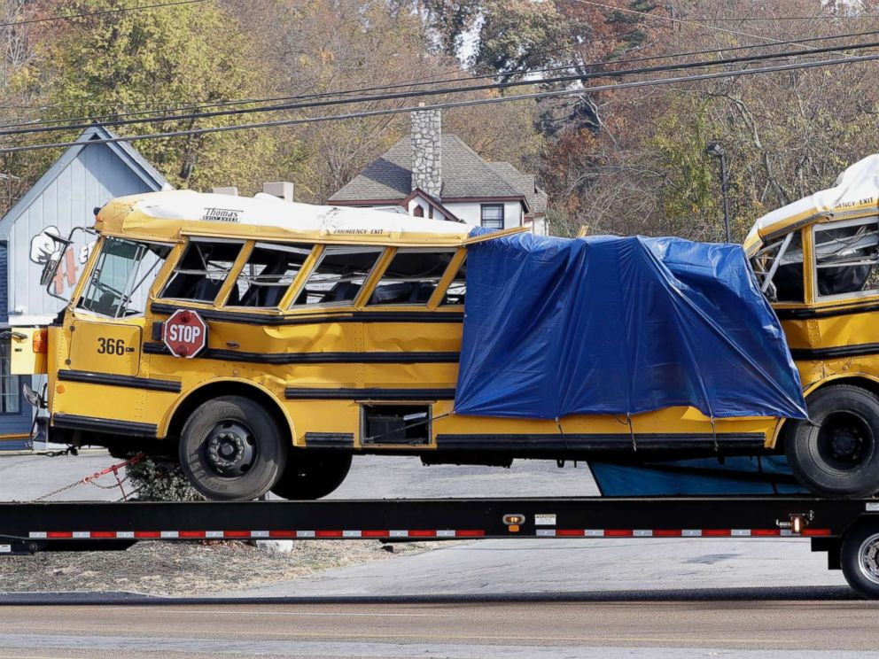 PHOTO: A school bus is carried away from the site of a fatal crash in Chattanooga, Tenn., Nov. 22, 2016.