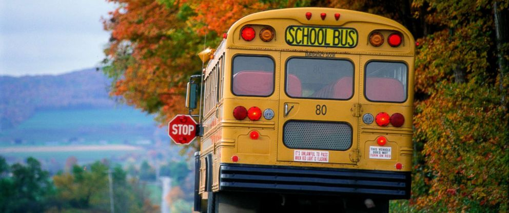 PHOTO: This stock photo depicts a school bus stopping on a road.
