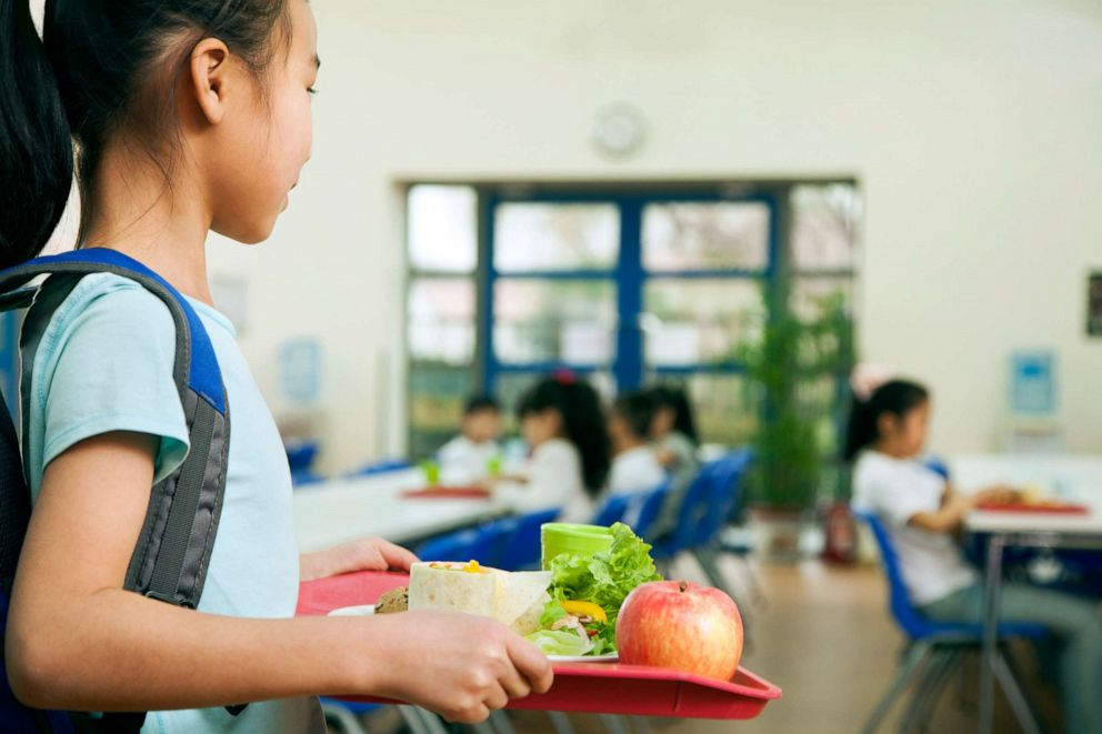 PHOTO: A young girl walks in a cafeteria in this stock photo.