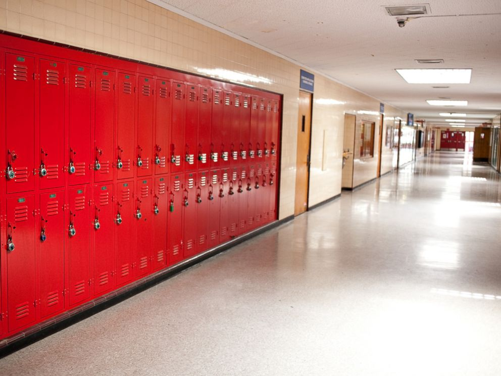 PHOTO: A high school hallway with lockers is pictured in this undated stock photo.