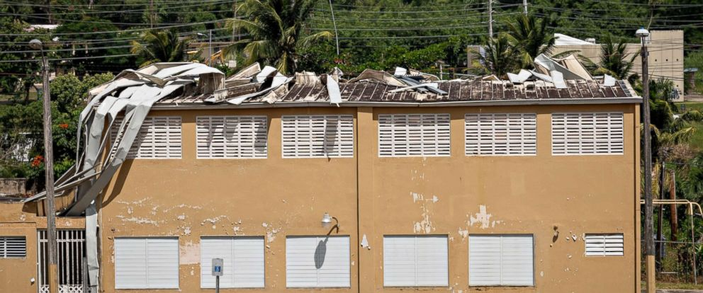 PHOTO: Visible roof damage in a school in the Carola neighborhood on Sept. 19, 2018 in Rio Grande, Puerto Rico.
