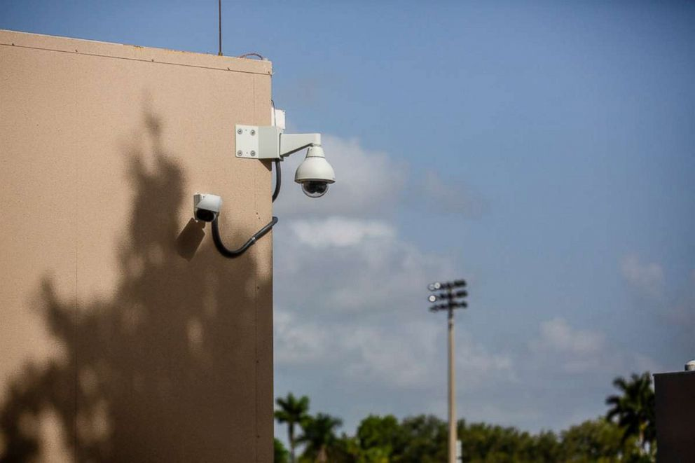 PHOTO: Security cameras at new portable classrooms at Marjory Stoneman Douglas High School in Parkland, Fla., Aug. 8, 2018.
