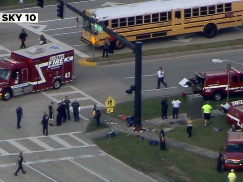 PHOTO: First responders report after reports of a shooting at Stoneman Douglas High School in Parkland, Fla., Feb. 14, 2018.