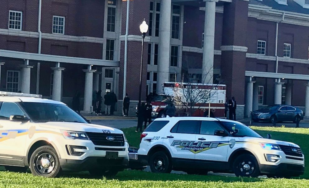 PHOTO: Authorities on the scene where a shooting occurred at Huffman High School, March 7, 2018, in Birmingham, Ala.