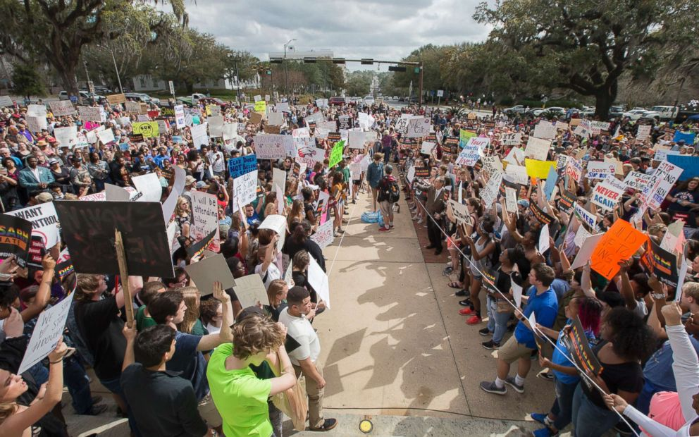 Students gather on the steps of the old Florida Capitol protesting gun violence in Tallahassee, Fla., Feb. 21, 2018.