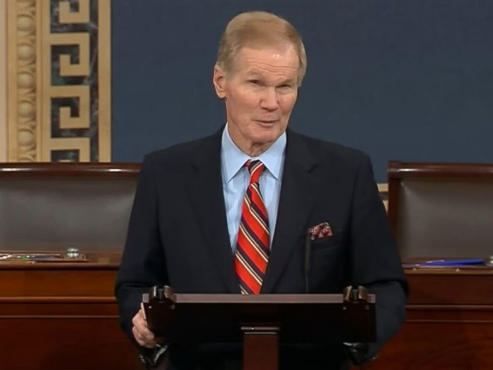 PHOTO: Senator Bill Nelson of Florida speaks on the floor of the senate in Washington after observing a moment of silence for the victims of a mass shooting in Parkland, Fla., Feb. 15, 2018.