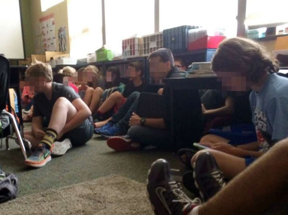 PHOTO: Students wait on lockdown inside Freeman Elementary School in Washington State?s Spokane County after a shooting at the nearby Freeman High School.
