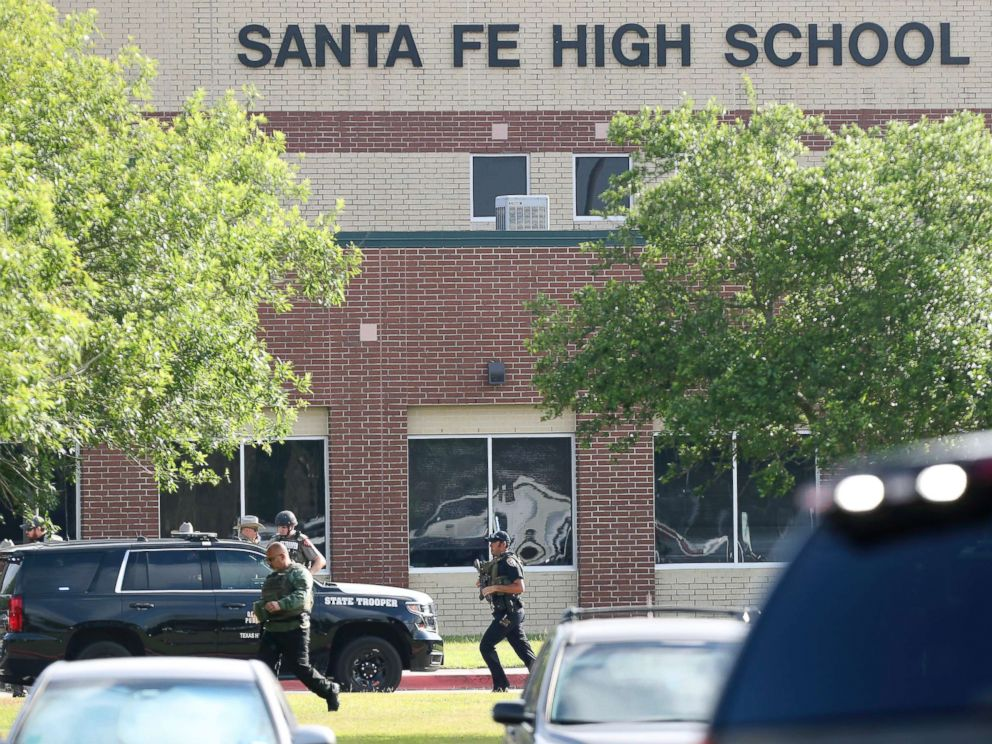 PHOTO: Law enforcement officers respond to Santa Fe High School after an active shooter was reported on campus, May 18, 2018, in Santa Fe, Texas.