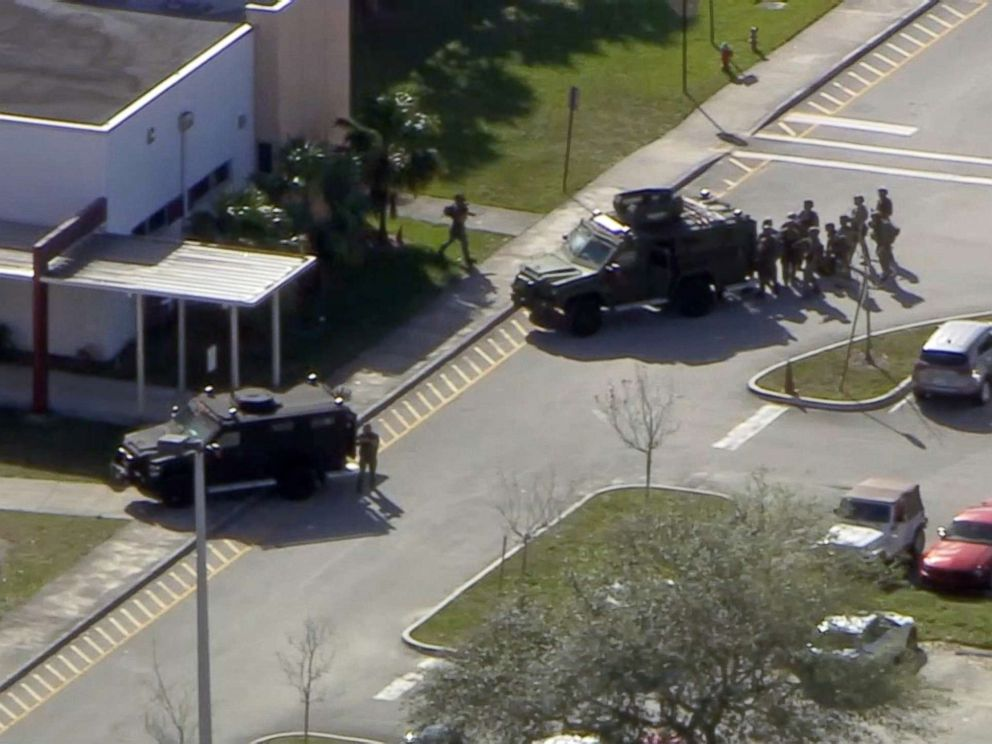 PHOTO: First responders gather after a shooting at Stoneman Douglas High School in Parkland, Fla., Feb. 14, 2018.