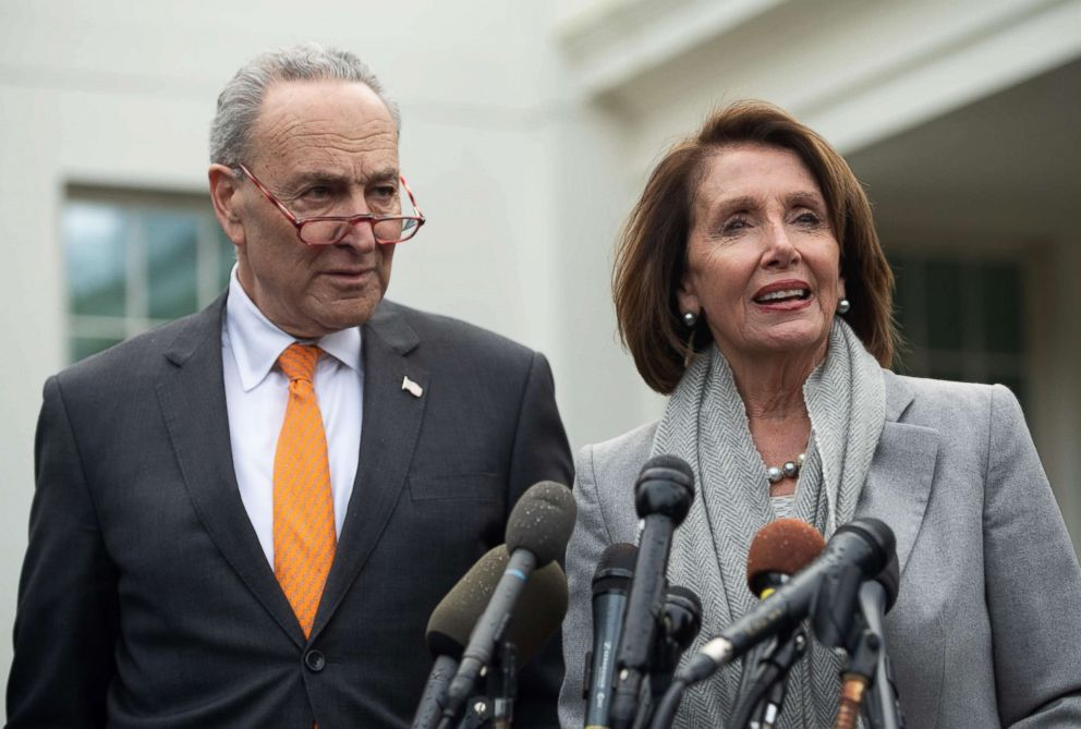 PHOTO: Senate Democratic Leader Chuck Schumer and Speaker of the House Nancy Pelosi talk to the media following a meeting with President Donald Trump about the partial government shutdown at the White House, Jan. 9, 2019.