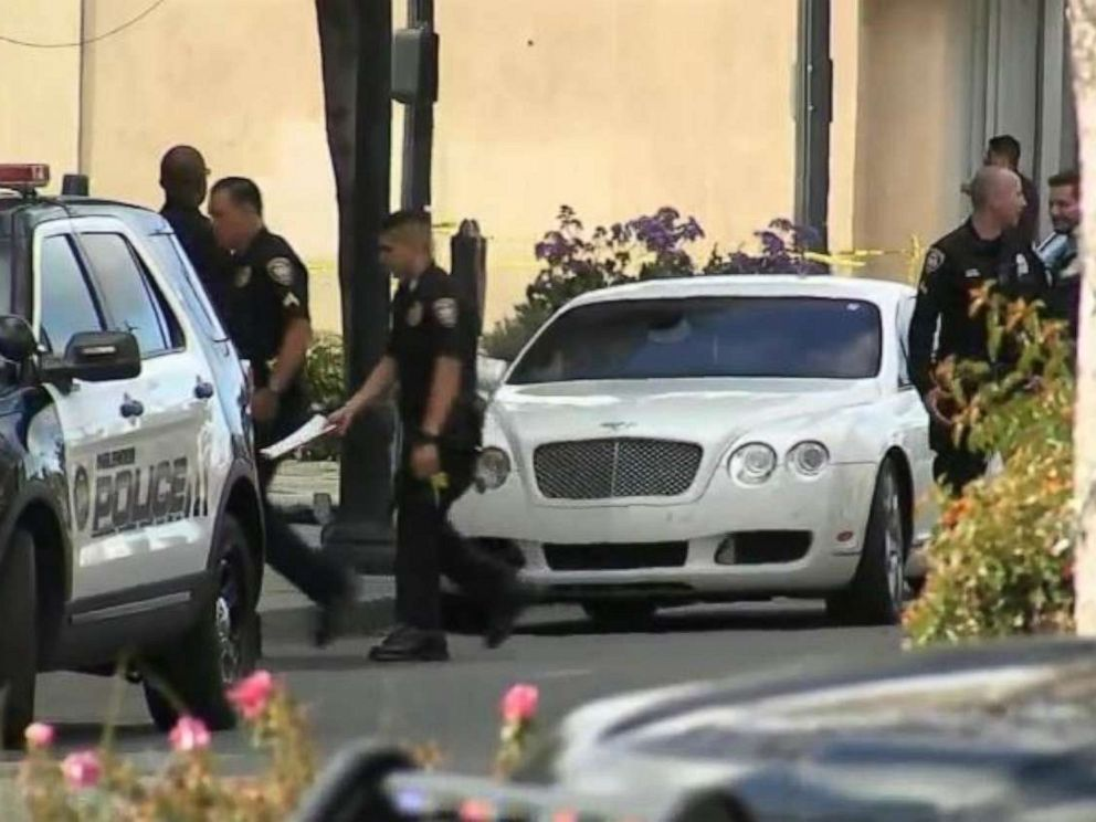 PHOTO: Police were investigating a white Bentley left outside the Church of Scientology in Inglewood, Calif., after a shooting injured two police officers on Wednesday, March 27, 2019.