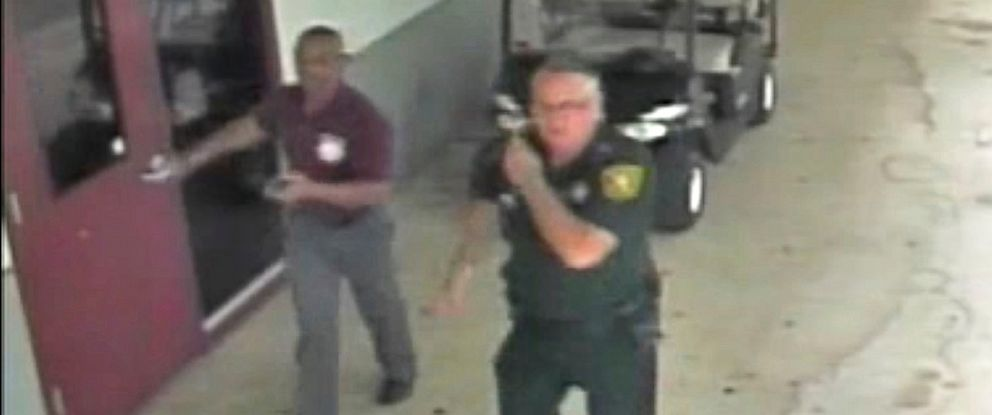 PHOTO: Then-Broward County Sheriffs Deputy Scot Peterson, assigned to Marjory Stoneman Douglas High School during the Feb. 14, 2018 shooting, is seen in an image captured from the school surveillance video released by Broward County Sheriffs Office.